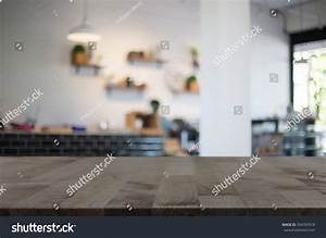 Selected Focus Empty Brown Wooden Table Stock Photo