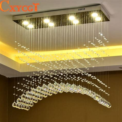 modern crystal led ceiling light fixture rectangle curtain