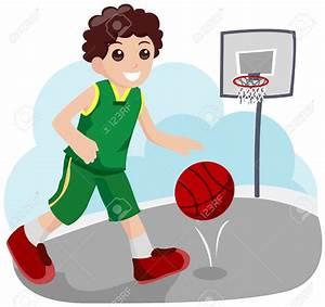 Cartoon boy basketball player clipart blue