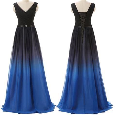 what color prom dress should i get black navy blue ombre prom dresses with v neck