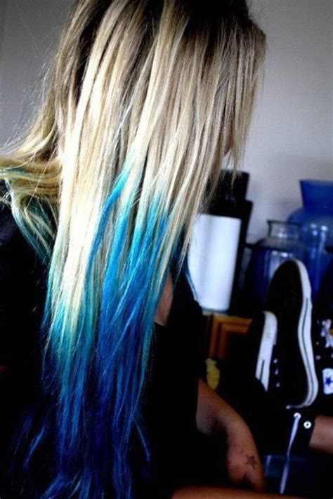 Platinum Blonde Aqua Dip Dyed Scene Hair Rainbow Of Hair