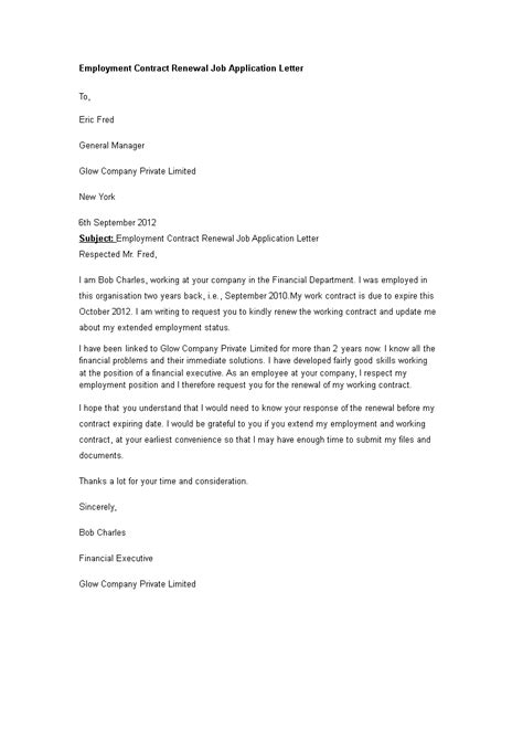 Employment Contract Renewal Job Application Letter - How to write an Employment Contract fo