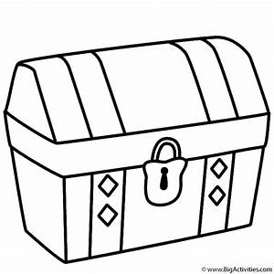 Treasure Chest - Coloring Page (Pirates)