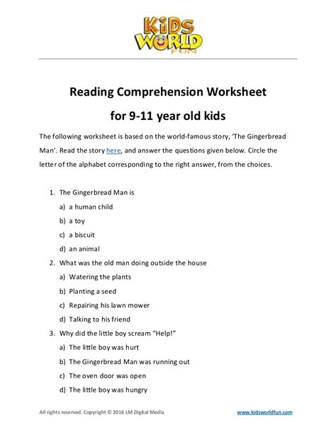 reading comprehension worksheet for 9 11 years