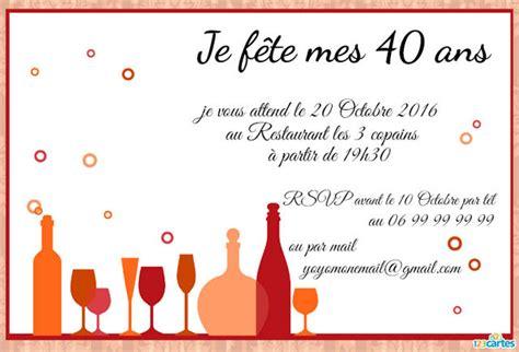 Carte Invitation Anniversaire 40 Ans Carte Invitation