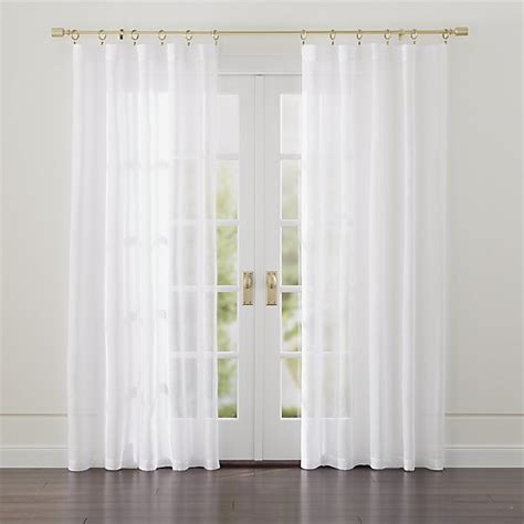 White Sheer Kitchen Curtains by Linen Sheer White Curtains Crate And Barrel