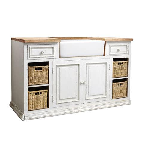 meuble de cuisine avec evier meuble bas de cuisine avec évier en manguier blanc l 140