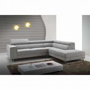 Corner sofa design right side 5 places with meridian for Canapé angle tissu gris clair