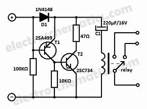 low current relay switch circuit With simple circuit provides latching fault protection