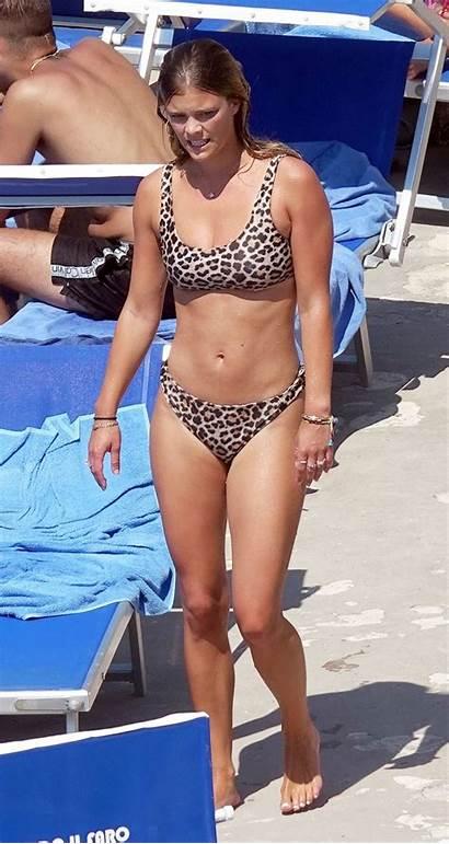 Nina Agdal Bikini Leopard Capri Vacation Beach