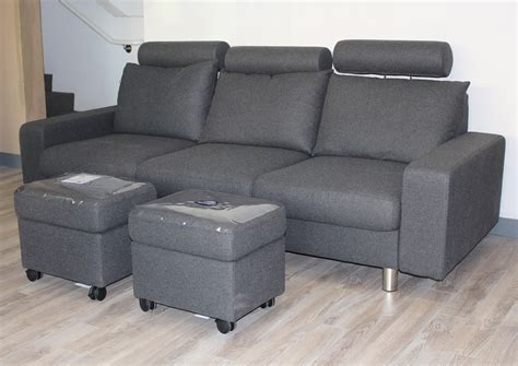 stressless e200 3 seat sofa in calido grey fabric by