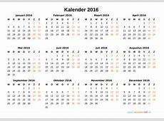 Kalender 2016 Jaarkalender en Maandkalender 2016 met