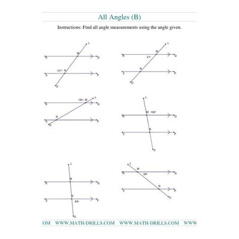 finding angle measures worksheet geometry worksheet finding angle measurements b