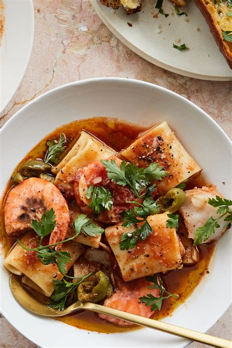 alison roman seafood pasta  tomato  crushed olives