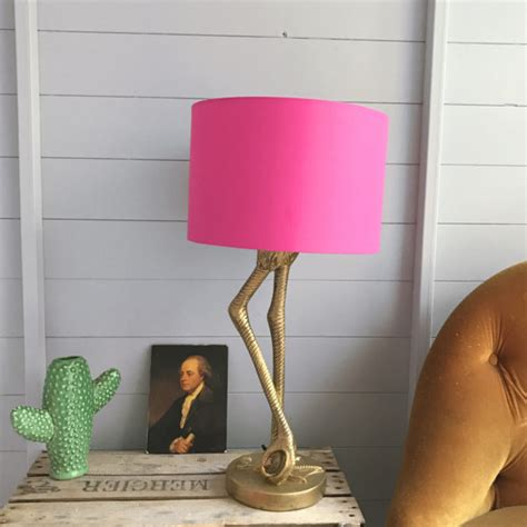 flamingo lamp  antique gold  hot pink shade love