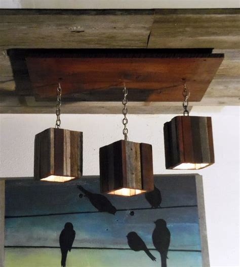 modern rustic reclaimed wood hanging light fixture