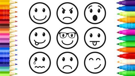 draw  color emoticons emoji faces coloring