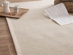 Tapis En Coton : tapis laine et jute avec ganse en coton millstone cr me ~ Nature-et-papiers.com Idées de Décoration