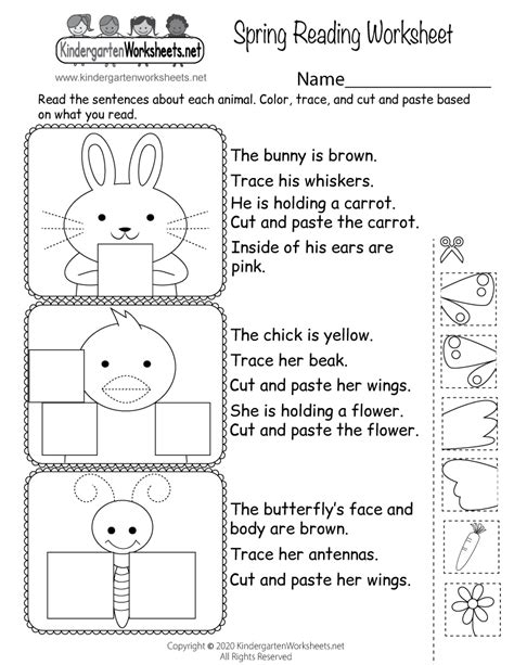 spring reading worksheet  kindergarten