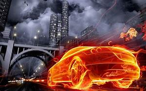 3D Burning Car Desktop HD Wallpaper For Free background