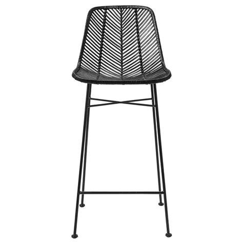 chaise de bar rotin tabouret de bar en rotin noir hk living