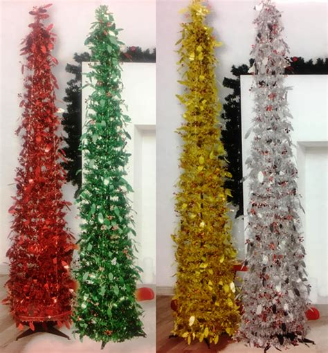 red pop christmas tinsel tree tinsel pop up tree 5ft 150cm stand decoration easy assembly ebay
