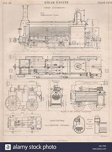 Victorian Engineering Drawing  Goods  U0026 Agricultural Locomotive  Steam Stock Photo  Royalty Free