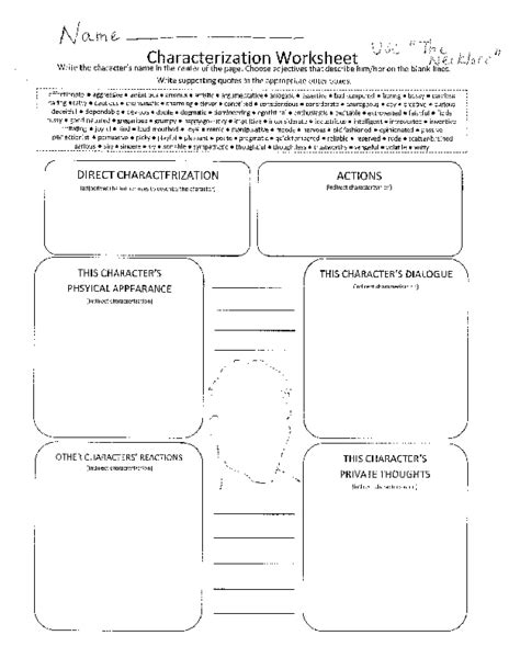 Characterization Worksheet Worksheets For School Getadating