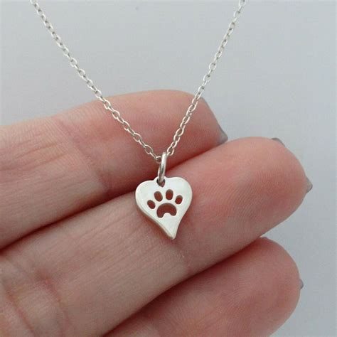 tiny paw  heart necklace  sterling silver paw