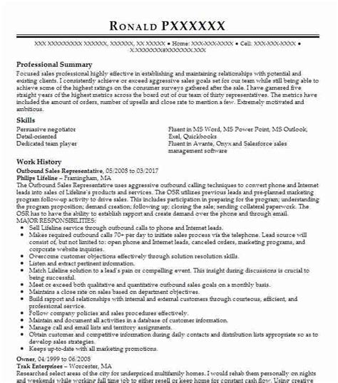 Sale Representative Resume Sle by Outbound Sales Representative Resume Sle Livecareer