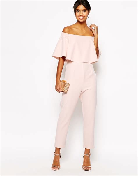 pink jumpsuits asos jumpsuit with ruffle bardot in pink lyst
