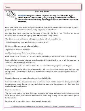 worksheet edit  story read  passage carefully