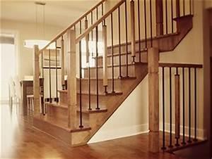 Escalier Bois Intérieur : rampe d 39 escalier merisier teint avec barreau en fer forg ~ Premium-room.com Idées de Décoration