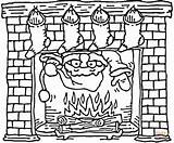 Coloring Chimney Fireplace Santa Christmas Pages Coming Drawing Stockings Holiday Printable Template Fire Claus Clipart Sheets Hung Print Decorated Through sketch template