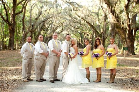 khaki  yellow wedding party attire