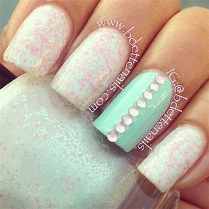 Opal + baby blue nails... Minus the rhinestones | Nail Art ...