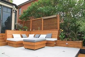 Amnagement Paysager Terrasse De Pav Et Mobilier En Bois