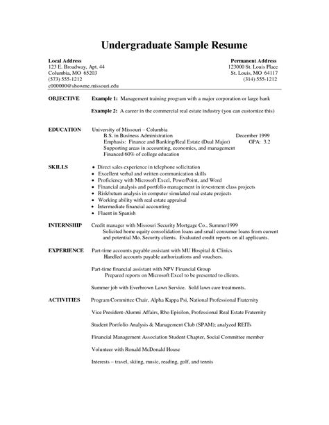 internship resume sle resume name cv exles student college sle resume no college free