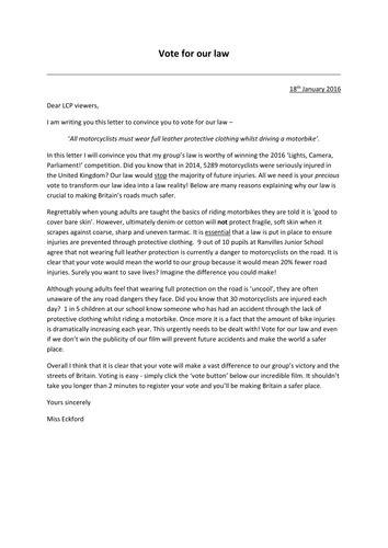 persuasive letter  ks formal persuasive letter