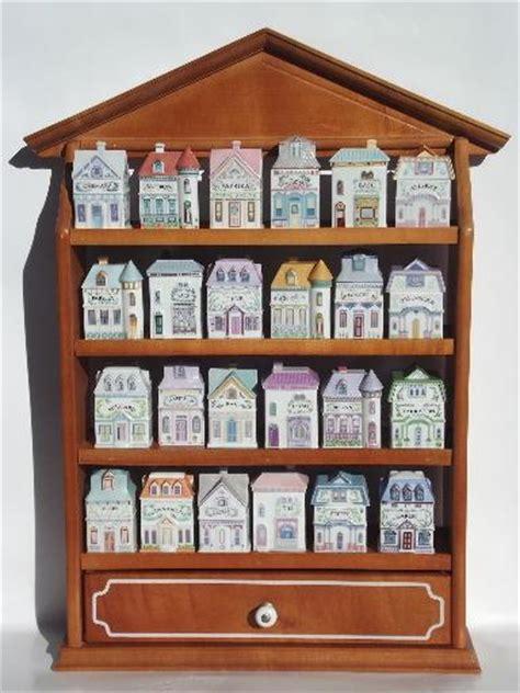 complete lenox china spice village spices jars set  wood wall rack shelf