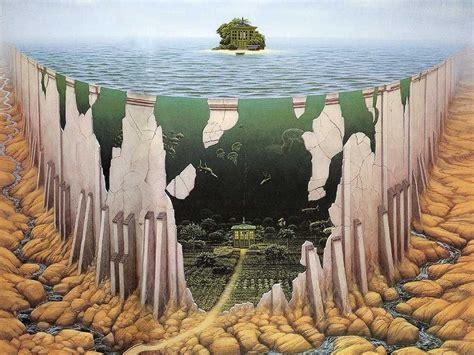 jacek yerka cliff artwork sea island wallpapers hd