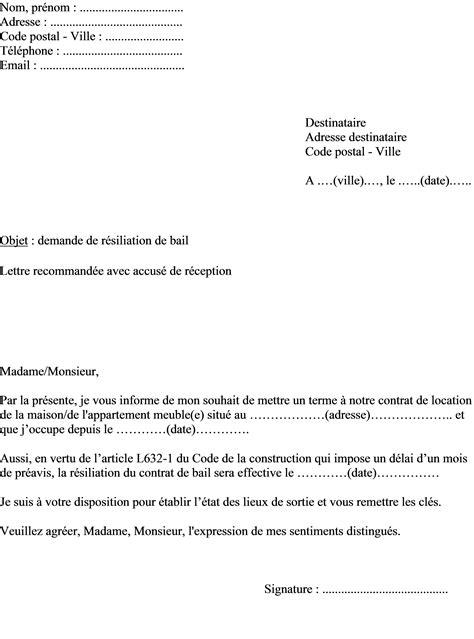 Lettre De Resiliation Bail Meuble Exemple De Lettre De R 233 Siliation Contrat Bail Location