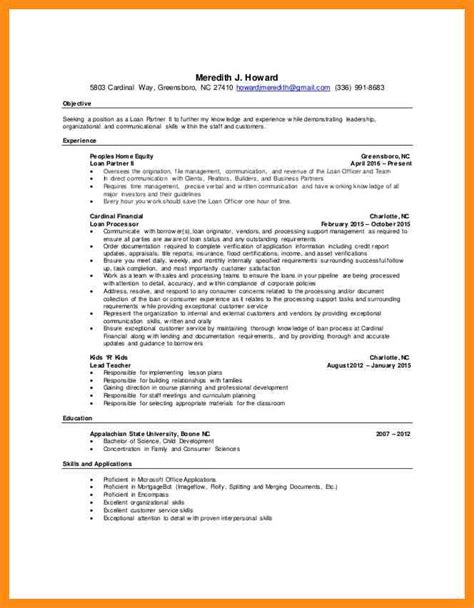 mortgage processor resume sle free edit employment