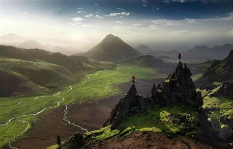 iceland valley river mountain mist green nature