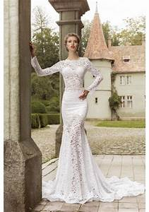 long sleeve o neck lace trumpet mermaid wedding dress ace0001 With long sleeve trumpet wedding dress