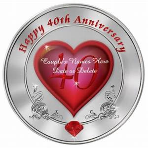 Gorgeous Personalized 40th Anniversary Plate | Zazzle