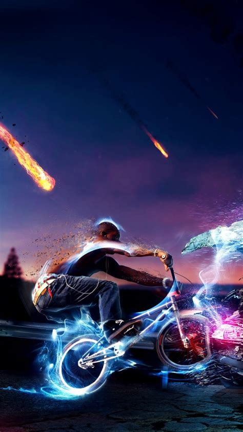 neon lights photoshop bike rider iphone  wallpaper hd
