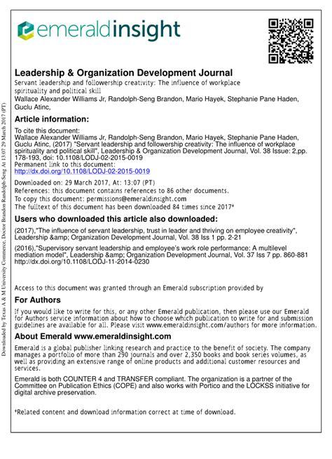 servant leadership  followership creativity