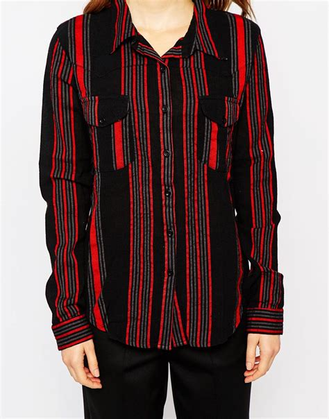 lyst ganni vertical striped long sleeve cotton shirt  red