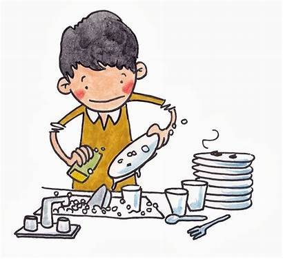 Dishes Washing Clipart Cartoon Doing Person Someone